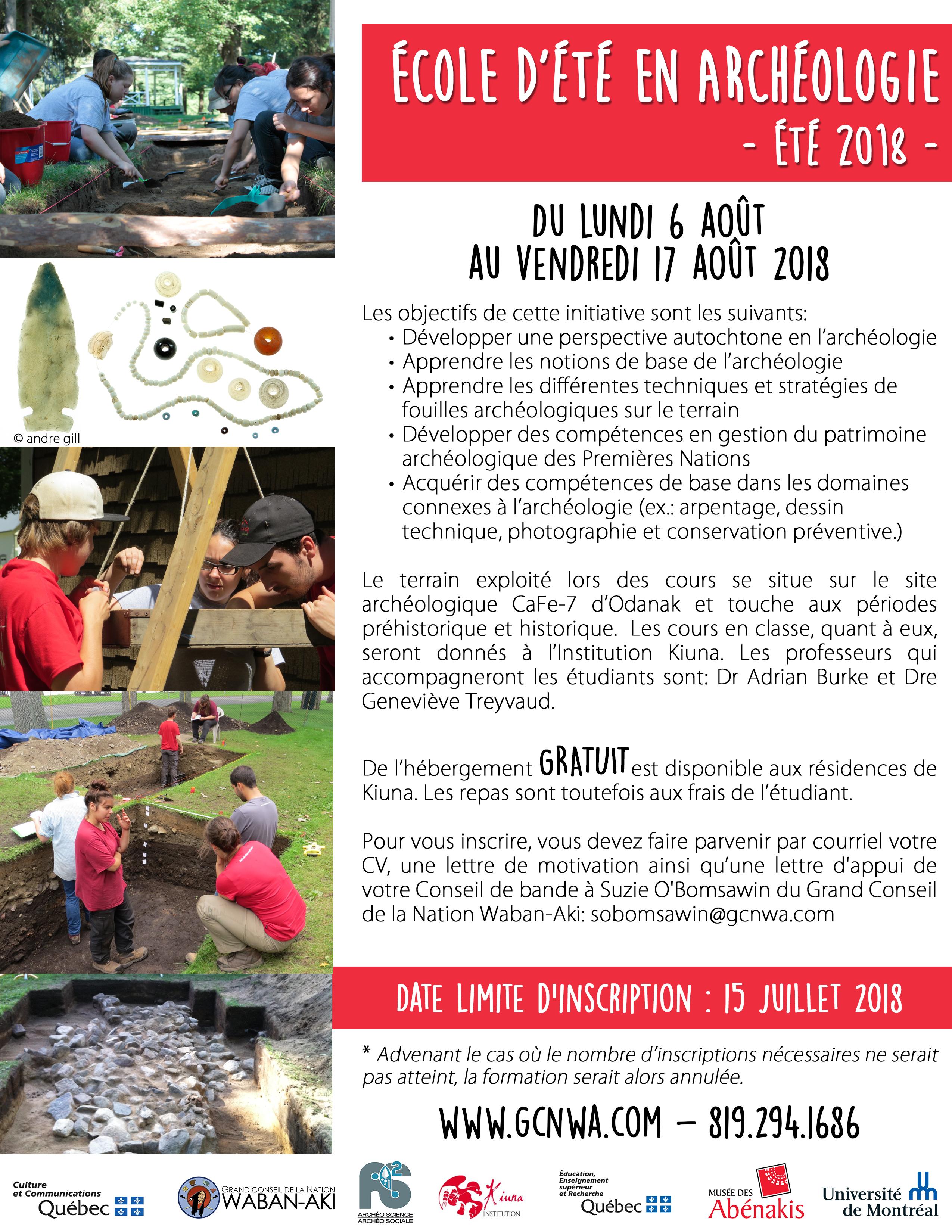 493c549e077 Une école d archéologie à Odanak cet été!
