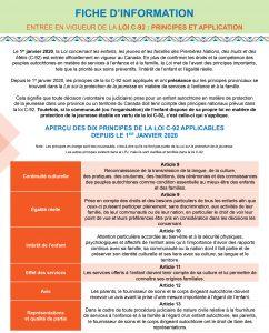 Fiche infomation - Loi C-92: principes et application